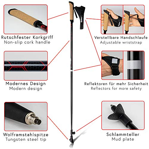 Carbon Ultra Light Walking Stock mit Handgelenkschlaufe verschiedene Längen Superleicht Premium GRATIS – Nordic Walking/Fitness App (110 cm) - 7