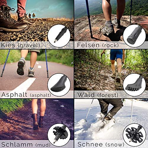 Trekking Stöcke Climber Wanderstöcke Teleskop 67 – 136 cm GRATIS – Nordic Walking/Fitness App - 3