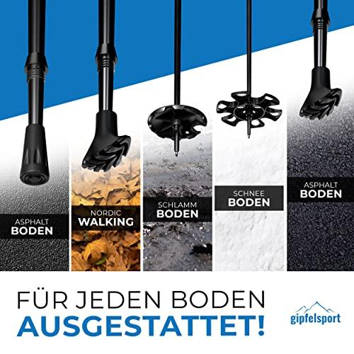 Nordic Walking Stöcke von gipfelsport – ein Paar Wanderstöcke mit Tasche I Trekkingstöcke für Damen und Herren, verstellbar | Teleskop Stöcke mit Aufsätzen, Gummipuffer I + Gratis eBook - 5