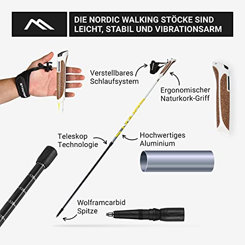 Msports Nordic Walking Stöcke Premium White – hochwertige Qualität – Superleicht – auswählbar mit Tragetasche – Walking Sticks (Nordic Walking Stöcke) - 2