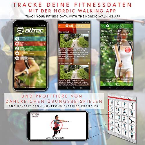 POWRX Nordic Walking Stöcke Carbon Light mit Handgelenkschlaufen (115 cm) | GRATIS – Nordic Walking/Fitness App - 5
