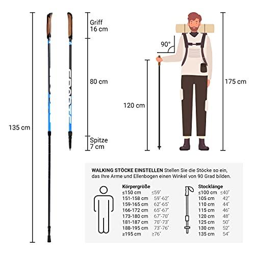 Msports Nordic Walking Stöcke Premium – hochwertige Qualität – Superleicht – auswählbar mit Tragetasche – Walking Sticks (Nordic Walking Stöcke) - 2