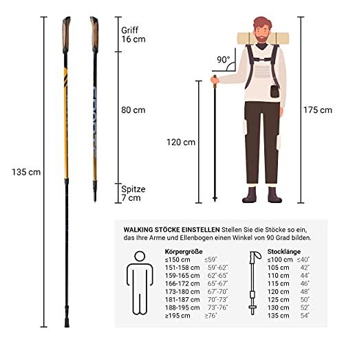 Msports Nordic Walking Stöcke Carbon Premium – aus hochwertigem Carbon – Superleicht – individuell einstellbar – auswählbar mit Tragetasche – Walking Sticks (Nordic Walking Stöcke Carbon) - 3