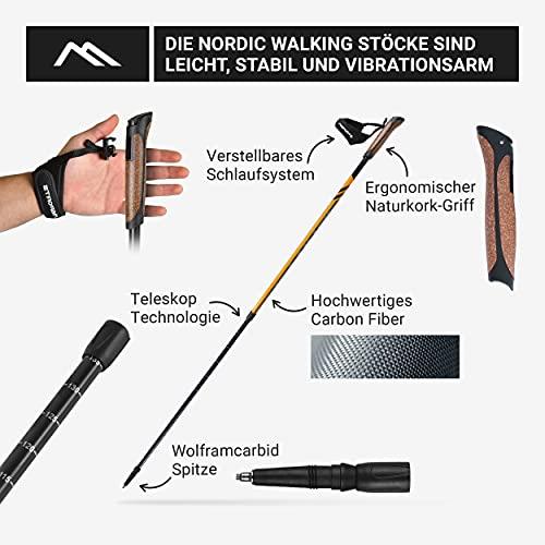Msports Nordic Walking Stöcke Carbon Premium – aus hochwertigem Carbon – Superleicht – individuell einstellbar – auswählbar mit Tragetasche – Walking Sticks (Nordic Walking Stöcke Carbon) - 7