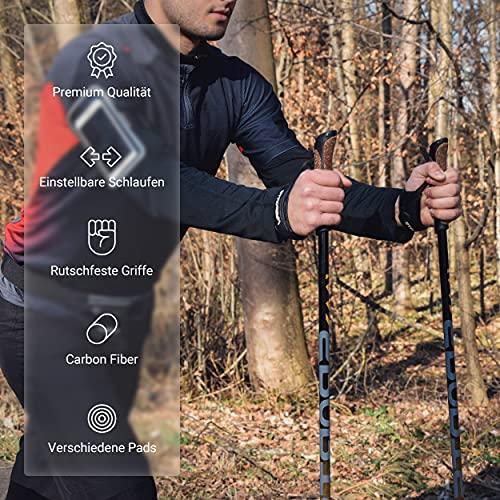 Msports Nordic Walking Stöcke Carbon Premium – aus hochwertigem Carbon – Superleicht – individuell einstellbar – auswählbar mit Tragetasche – Walking Sticks (Nordic Walking Stöcke Carbon) - 4