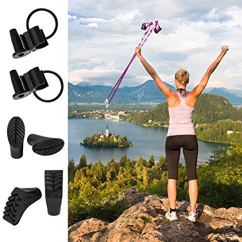 ALPIDEX Nordic Walking Stöcke LIPSTIX Fixlängenstock aus Carbon in verschiedenen Längen sehr leicht inkl. Gummipuffer und Padhalter ausklickbare Handschlaufen, Länge:110 cm, Farbe:Pink-Weiß - 5