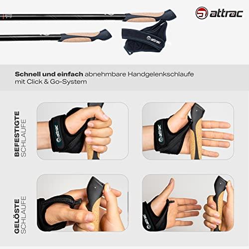 ATTRAC Nordic Walking Stöcke Classic CLICK & GO I Wanderstöcke Teleskop verstellbar & super leicht mit Anti-Schock Dämpfung I Inkl. Workout und Sport App I Auswählbar mit Tasche (Click & Go) - 2