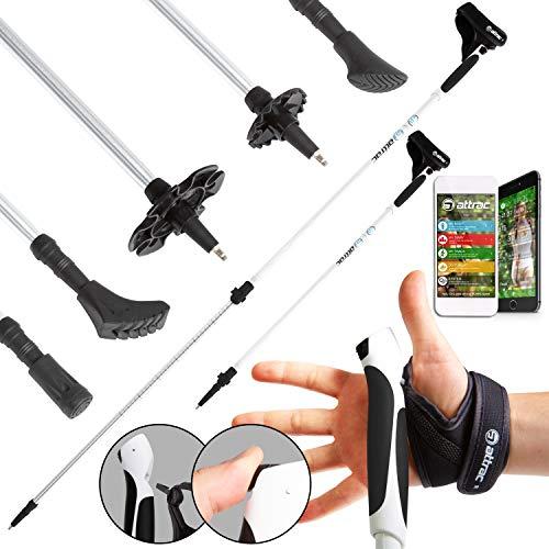 ATTRAC Nordic Walking Stöcke Aluminium Teleskop verstellbar I Inklusive Handgelenkschlaufen mit CLICK & GO System + GRATIS - Nordic Walking/Fitness App