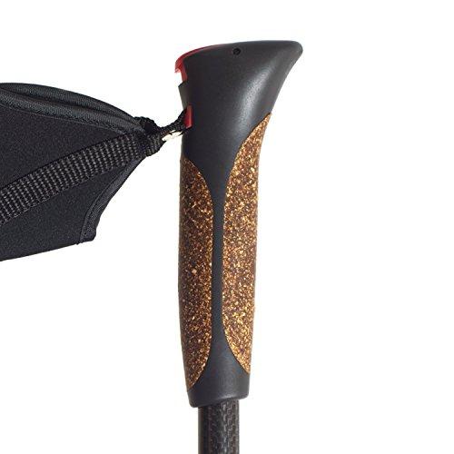 Steinwood Premium 100% Carbon Nordic Walking Stöcke verstellbar mit Teleskop und Klemmverschluss mit extra Gummipuffer und Tragebeutel - 2