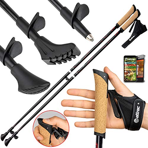 Carbon Ultra Light Walking Stock mit Handgelenkschlaufe verschiedene Längen Superleicht Premium GRATIS - Nordic Walking/Fitness App (115 cm)