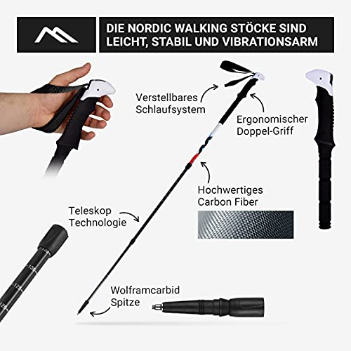 Msports Nordic Walking – Trekking Premium Carbon Stöcke – aus hocherwetigem Carbon – Superleicht – auswählbar mit Tragetasche – Nordic Walking – Wanderstöcke (Trekking Stöcke + Tasche) - 4