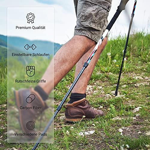 Msports Nordic Walking – Trekking Premium Carbon Stöcke – aus hocherwetigem Carbon – Superleicht – auswählbar mit Tragetasche – Nordic Walking – Wanderstöcke (Trekking Stöcke + Tasche) - 5