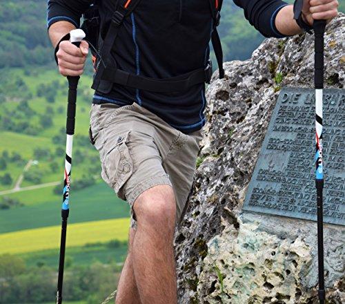 Msports Nordic Walking – Trekking Premium Carbon Stöcke – aus hocherwetigem Carbon – Superleicht – auswählbar mit Tragetasche – Nordic Walking – Wanderstöcke (Trekking Stöcke + Tasche) - 8