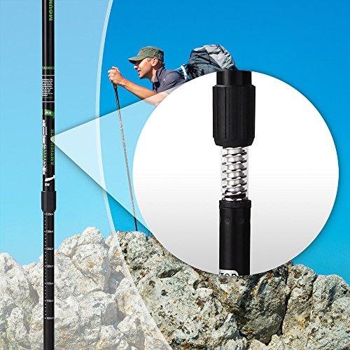 Mountaineer Nordic Walking Stock Stöcke Wanderstock | Antischock Dämpfungssystem | Stufenlos verstellbar von 70 bis 135 cm | Schwarz - 2