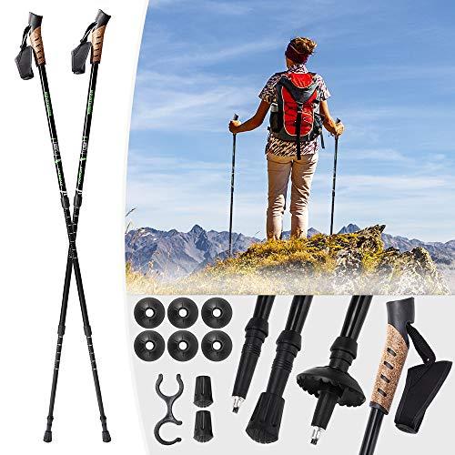 Mountaineer Nordic Walking Stock Stöcke Wanderstock | Antischock Dämpfungssystem | Stufenlos verstellbar von 70 bis 135 cm | Schwarz - 4