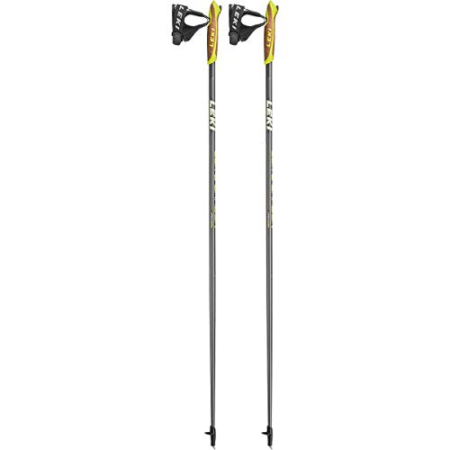 LEKI Elite Carbon Nordic Walking Stock, Dark Grey/White/Lime, 120