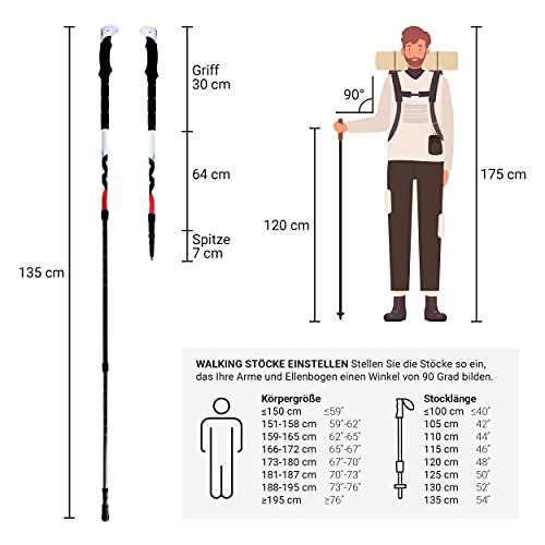 Msports Nordic Walking – Trekking Premium Carbon Stöcke – aus hochwertigem Carbon – Superleicht – auswählbar mit Tragetasche – Nordic Walking – Wanderstöcke (Trekking Stöcke) - 2