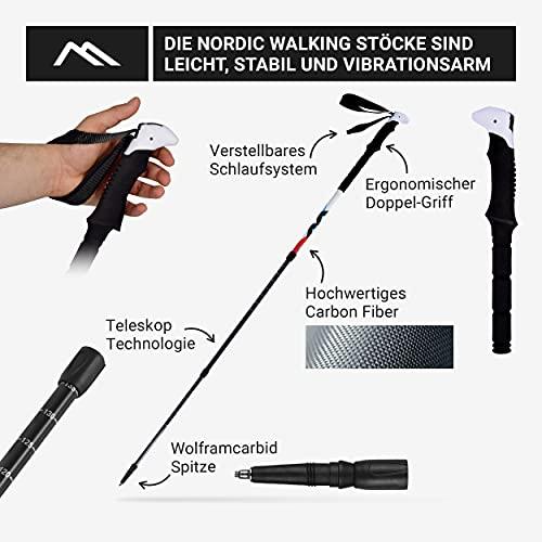 Msports Nordic Walking – Trekking Premium Carbon Stöcke – aus hochwertigem Carbon – Superleicht – auswählbar mit Tragetasche – Nordic Walking – Wanderstöcke (Trekking Stöcke) - 3