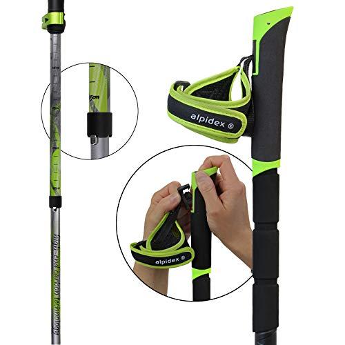 ALPIDEX Faltstöcke TIMOK Vario aus Carbon ausklickbare Handschlaufen verstellbar 105-125 cm ultraleicht 5-teilig Packmaß lediglich 39 cm Trailrunning Stöcke Trekkingstock faltbar - 5
