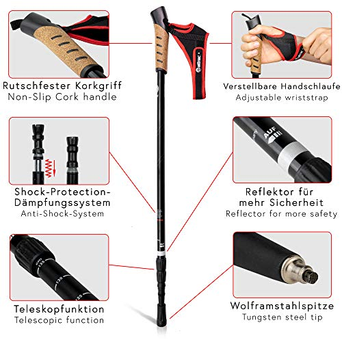 ATTRAC Nordic Walking Stöcke/Wanderstöcke *Partner-Paket* Classic und Lady Edition Teleskop Verstellbar Dämpfung inkl. App - 4