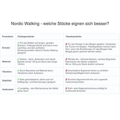Superleichter Carbon Nordic Walking Stock Walker 5000 Premium Edition, Länge:120 cm - 6